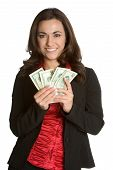 picture of holding money  - Beautiful young white businesswoman holding eighty dollars - JPG