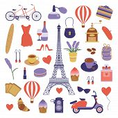Paris Icon Set. Eiffel Tower, Tandem Bicycle, Air Balloon, French Bakery, Scooter And Coffee. France poster