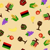 stock photo of unity candle  - seamless background with traditional kwanzaa celebration stuff - JPG