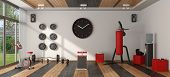 Home Gym With Punching Bag,cyle And Other Fitness Equipment - 3d Rendering poster