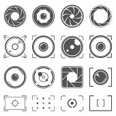 Camera Shutter, Lenses And Photo Camera Elements Set. Aperture And Photography Vector Illustration.  poster