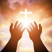 Christian Man With Open Hands Worship Christian. Eucharist Therapy Bless God Helping Repent Catholic poster