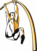 image of pole-vault  - Vector art of an Athlete doing the pole vault - JPG
