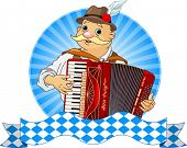 stock photo of accordion  - Oktoberfest Accordion Player  with stripe for text - JPG