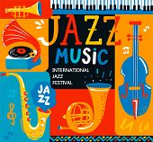 Poster For The Jazz Musical Festival With Classic Music Instruments - Cello, Cornet, Tuba, Clarinet, poster