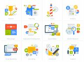 Set Of Flat Design Style Concept Icons Isolated On White. Vector Illustrations For Business, Managem poster