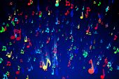 Seamless Animation Of Colorful Musical Notes For Music Videos, Led Screens And Projections At Night  poster