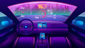 Automobile Salon Or Driverless Car Interior View. Futuristic Self-driving Vehicle At Road Moving Tow poster