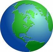 pic of world-globe  - Bevelled globe featuring North America - JPG