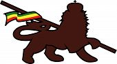 stock photo of rastafari  - lion of judah with a rastafari flag waving original illustration - JPG