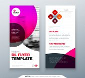 Dl Flyer Design. Pink Business Template For Dl Flyer. Layout With Modern Circle Photo And Abstract B poster