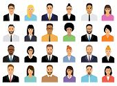 People Icons Set. Team Concept. Diverse Business Men And Women Avatar Icons. Vector Illustration Of  poster