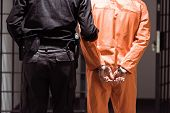 Rear View Of Prison Officer Leading Prisoner In Handcuffs poster