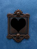 Vintage Lock With Heart Keyhole, On Blue poster