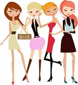 illustration of four fashion girls