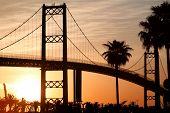 picture of long beach  - Bridge in Southern California with beautiful Sunrise - JPG