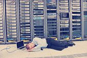 it business man in network server room have problems and looking for  disaster situation  solution poster