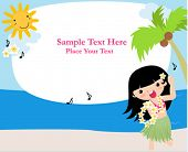 foto of hawaiian flower  - Frame with hawaii girl - JPG