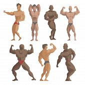 Bodybuilder Sportsman Vector Characters Muscular Bearded Man Fitness Male Strong Athlets Model Posin poster