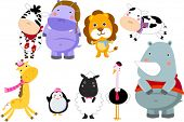 Vector cartoon illustration of group of  animals