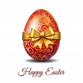 Easter Card With Bright Red Easter Egg Tied Of Gold Ribbon With A Big Bow And Text Happy Easter. Ele poster