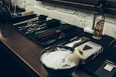 Barber Shop Tools On The Table. Close Up View Shaving Foam. Barber Shop Concept. Shaving Machine, Co poster