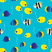 Colourful Seamless Pattern With Cartoon Coral Reef Vivid Fish On Blue Background. Underwater Life Wa poster