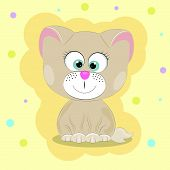 Greeting Card Good Cute Cat. Yellow Background poster