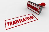 Translation Stamp Word Translated 3d Illustration poster