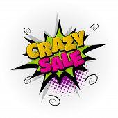 Crazy Sale Discount Hand Drawn Pictures Effects. Template Comics Speech Bubble Halftone Dot Backgrou poster