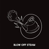 Blow off steam idiom vector poster