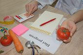 Healthy Natural Organic Food Diet, Ripe Harvest. Fruit Composition, Measuring Tape, Calculator With  poster