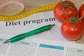 Постер, плакат: Concept Of Diet Low calorie Fruit Diet Diet For Weight Loss Plate With Measuring Tape And Fruits