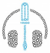 Headphones Tuning Screwdriver Mosaic Of Tooth Gears. Vector Cog Parts Are Organized Into Headphones  poster