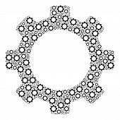Gear Mosaic Of Gear Wheels. Vector Mechanical Wheel Components Are Grouped Into Gear Shape. poster
