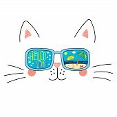 Hand Drawn Portrait Of A Cute Cartoon Funny Cat In Sunglasses With Beach Scene Reflection, Text Hell poster