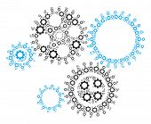 Gear Mechanism Collage Of Gearwheels. Vector Gear Elements Are Composed Into Gear Mechanism Composit poster