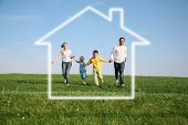 stock photo of dream home  - the family of four in a dream house - JPG
