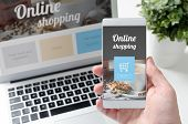 Online Shopping Concept On Smart Phone And Laptop. Hand Holding Mobile Phone. poster