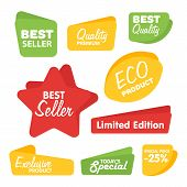 Big Set Of Raster Label, Sticker, Tags. Collection Colorful Abstract Label And Sticker. Blank Label  poster