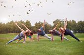 Group Sport Physical Exercise Outdoor In The Park. People Making Stretching Yoga Gymnastics On The L poster