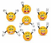 3d Funny Smileys Faces With Hands Gesture Set. Happiness, Anger, Joy, Fury, Sad, Playful, Fear, Surp poster