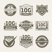 Premium Quality Guaranteed Retro Isolated Label Set. Retail Award Badge, 100 Percent Satisfaction Qu poster