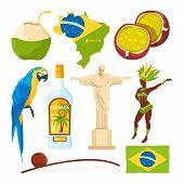 Brazilian Landmarks And Different Cultural Symbols. Brazil Travel, Brazilian Culture, Carnival And L poster