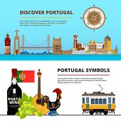 Banners Set With Illustrations Of Portuguese Cultural Objects. Vector Portuguese Discover Banner, Po poster