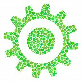 Cogwheel Composition Of Circle Elements In Variable Sizes And Ecological Green Color Tints. Vector C poster