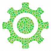 Cogwheel Collage Of Dots In Various Sizes And Fresh Green Color Hues. Vector Filled Circles Are Orga poster