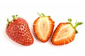 Strawberry One Whole One One Cut Isolated On White Background poster