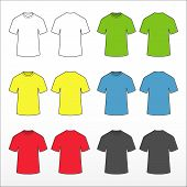 Set Colored T-shirts. Colored Short Sleeve T-shirts Templates Collection. Front And Back Views. Vect poster