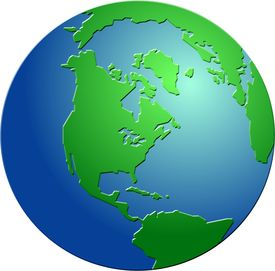 stock photo of world-globe  - Bevelled globe featuring North America - JPG